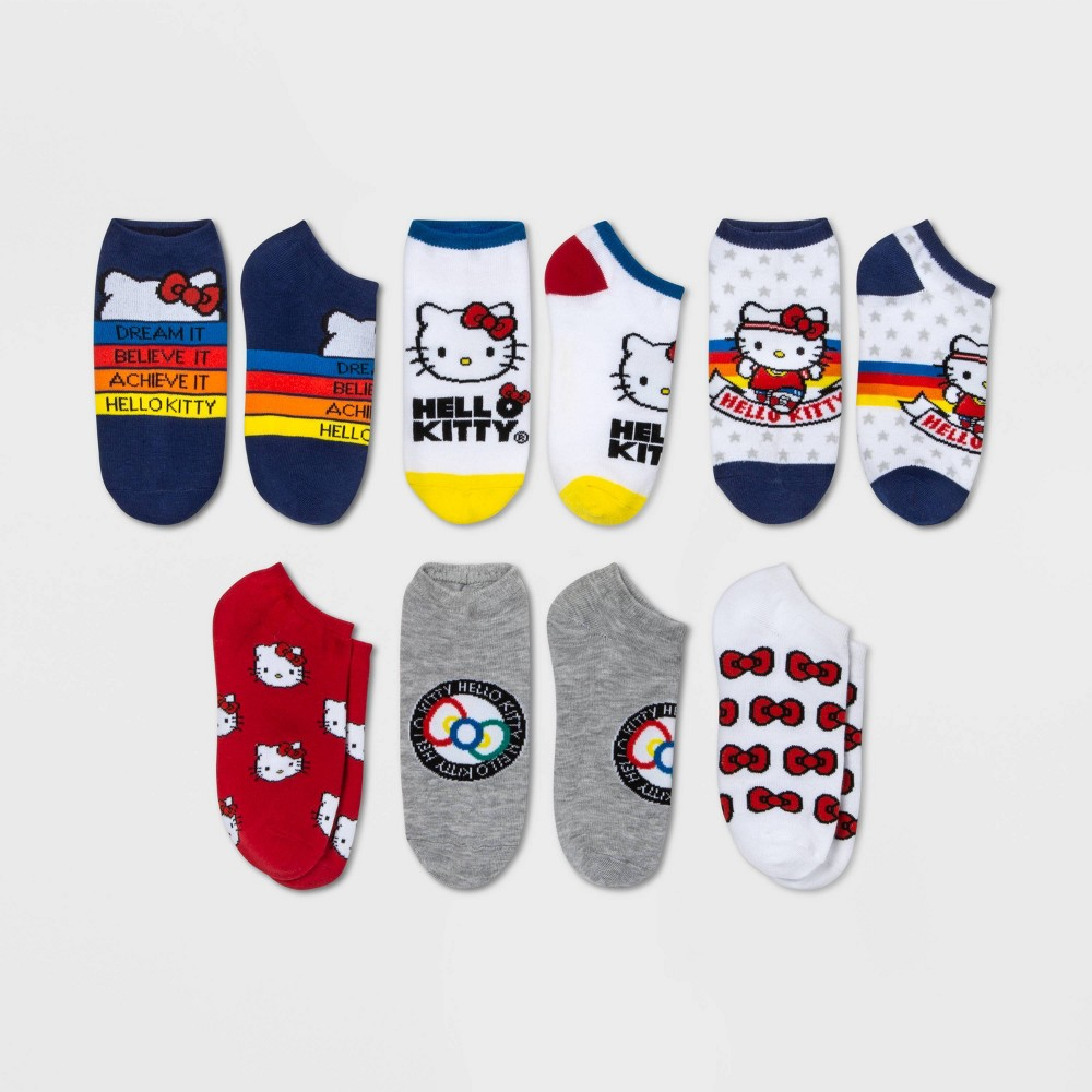 Image of Women's Hello Kitty 6pk No Show Socks - Assorted Colors 9-11, Women's, Size: Small, White