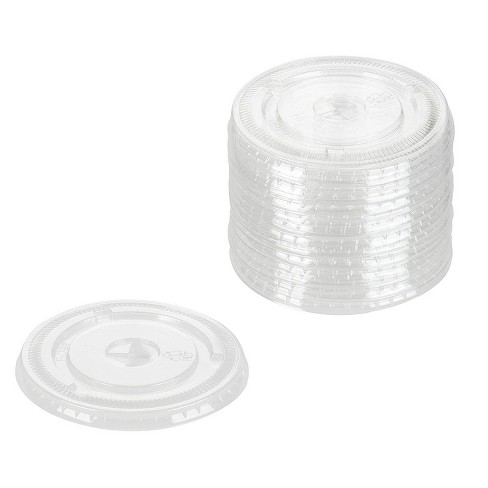 200-Pack Disposable Plastic Cups Lids, Ultra Clear PET 4 inches Diameter Flat Lid for Party, Cold Drink Iced Tea Smoothies 16oz 20oz 24oz 26oz - image 1 of 2