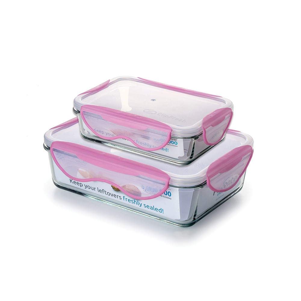 Image of ClipFresh 4pc Food Storage Container Pink