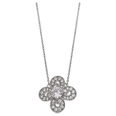 "Women's Clear Cubic Zirconia Clover Pendant in Sterling Silver - Clear/Gray (18"")"