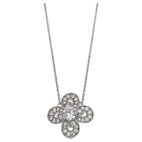 "Women's Clear Cubic Zirconia Clover Pendant in Sterling Silver - Clear/Gray (18"") - image 1 of 1"