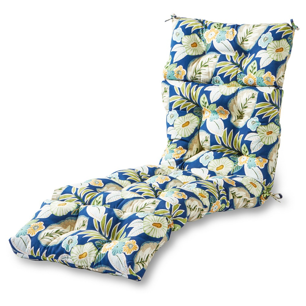 Image of Marlow Floral Outdoor Chaise Lounge Cushion - Greendale Home Fashions, Floral Blue