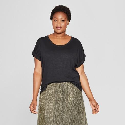 0e34ef2c1a2 Women s Plus Size Textured Cuff Short Sleeve T-Shirt - Ava   Viv ...