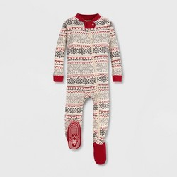 Burt's Bees Baby® Snowy Fair Isle Organic Cotton Sleeper - White