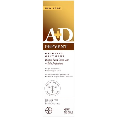 A+D Original Diaper Rash Ointment, Baby Skin Moisturizer and Protectant with Vitamins A and D - 4oz
