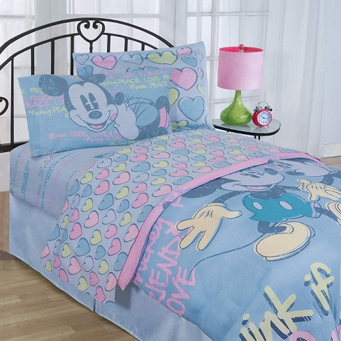 4pc Disney Mickey And Minnie Mouse Full Bed Sheet Set Vintage Hearts Bedding Accessories Mickey Mouse Friends Target