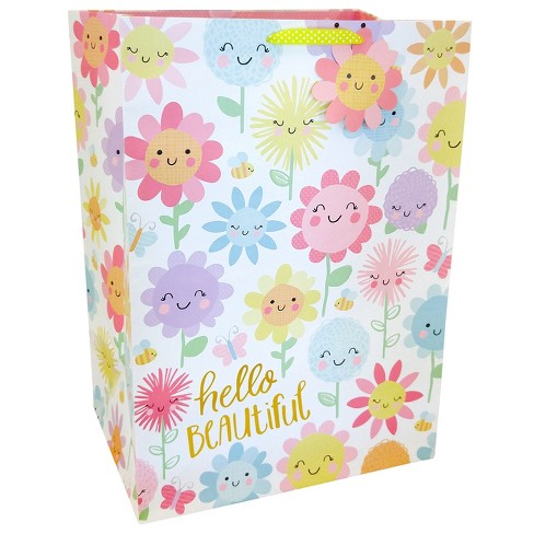 """Hello Beautiful"" Floral Colossal Cub Gift Bag - Spritz™ - image 1 of 1"