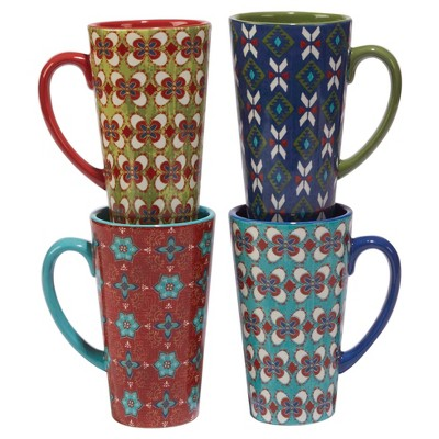 Certified International® Monterrey by Veronique Charron Ceramic Latte Mugs 16oz Blue - Set of 4