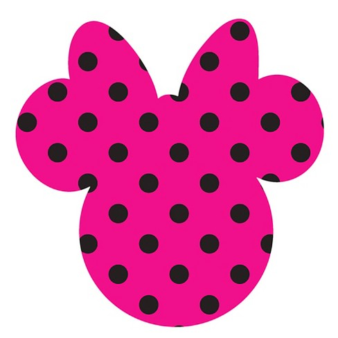 Disney Minnie Ears Large, Pink with black dots, Adhesive Printed Burlap, Pack of 6 - image 1 of 1