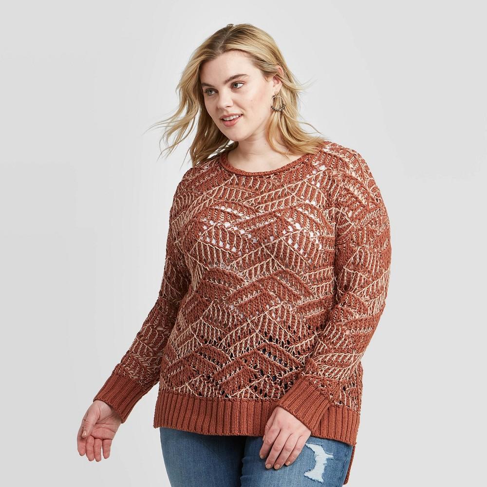 Women's Plus Size Crewneck Open Stitch Tunic Sweater - Universal Thread Brown 2X, Women's, Size: 2XL was $30.0 now $21.0 (30.0% off)