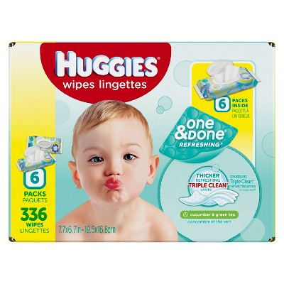 Huggies One & Done Refreshing Baby Wipes Soft Pack - 336ct