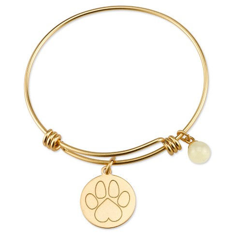 "Women's Stainless Steel True Friend Paw Expandable Bracelet - gold (8"") - image 1 of 2"