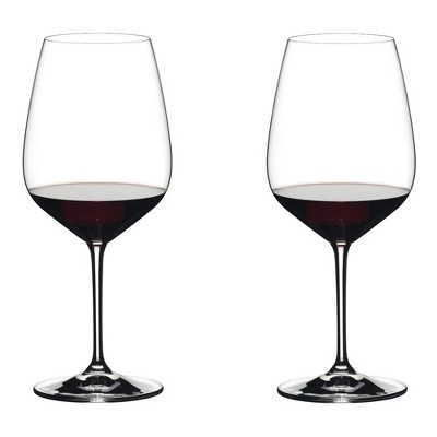 Riedel 28.22 Ounce Extreme Cabernet Clear Crystal Red Wine Glass Set for Full Bodied Complex Red Wines with Angular Bowl, (2 Pack)