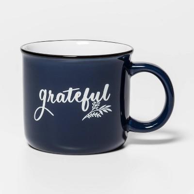 15oz Stoneware Grateful Camper Mug Blue - Threshold™