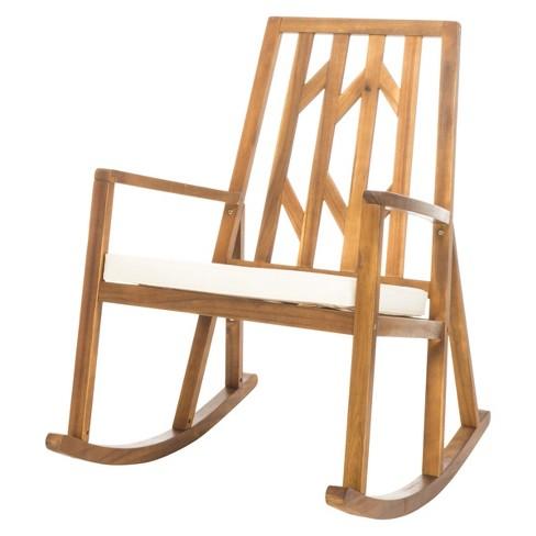 Nuna Acacia Wood Rocking Chair With Cushion White Christopher