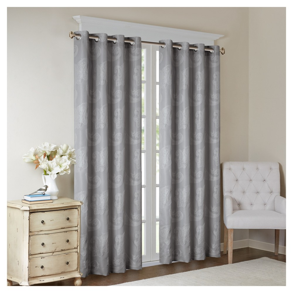 Chantal Paisley Jacquard Window Curtain Panel Gray (50