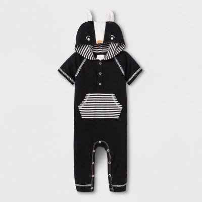 Baby Boys' Short Sleeve Hooded Critter Romper - Cat & Jack™ Black 3-6M