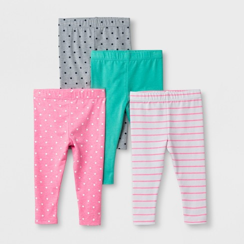 d8f0e72bf2b85 Baby Girls' 4pk Leggings Pants - Cat & Jack™ Pink/Gray/Green