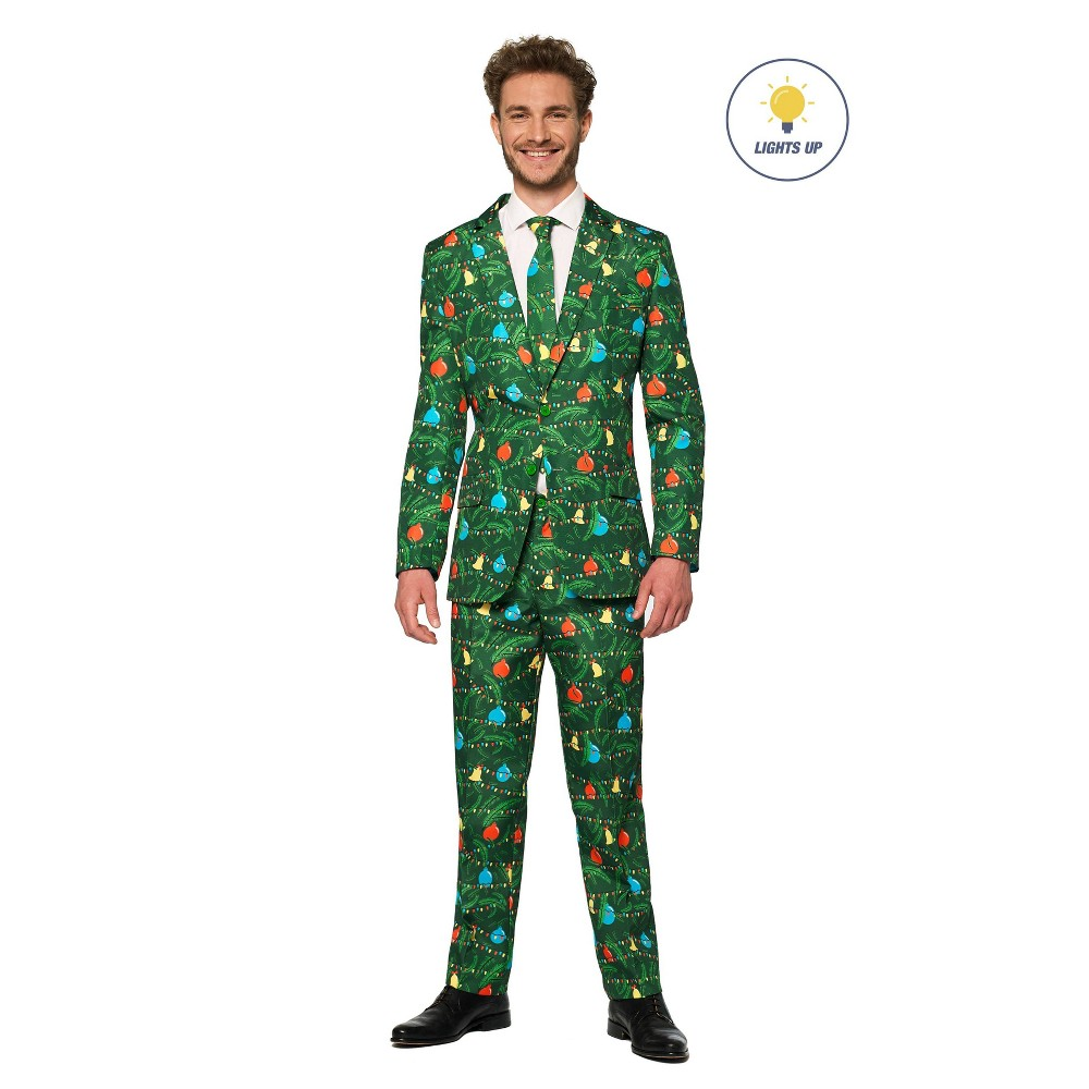 Image of Halloween Men's Light-up Christmas Tree Costume Suit L, Men's, Size: Large, Green