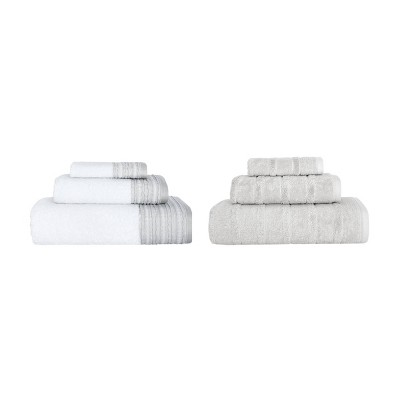 6pc Luxury Fancy Towel Bundle Set White/Stone - Royal Turkish Towels