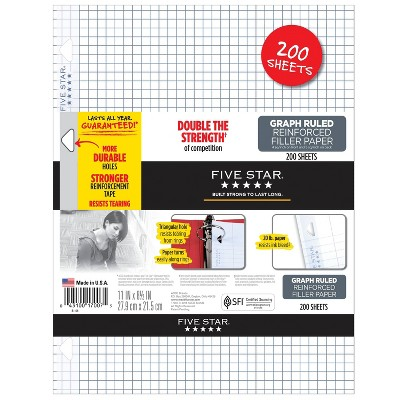 Five Star 200ct Graph Ruled Filler Paper Reinforced