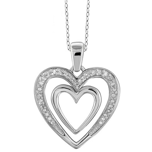 ad8ac34f2b0ebc T.W Round-Cut White Diamond Pave Set Double Heart Pendant - White (18