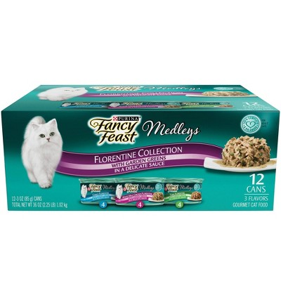 Purina Fancy Feast Medleys Gourmet Wet Cat Food In a Delicate Sauce Florentine Collection - 3oz/12ct Variety Pack