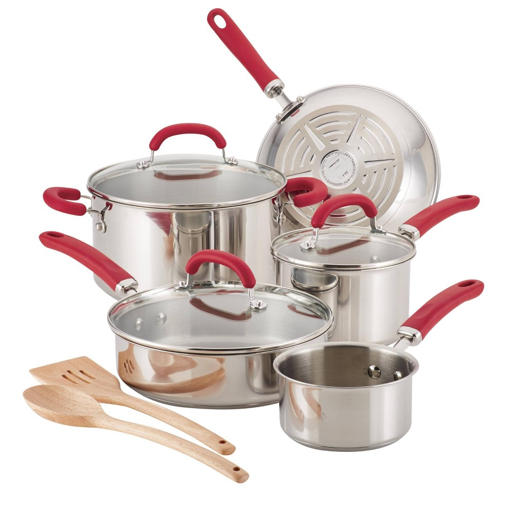 Image of Rachael Ray 10pc Create Delicious Stainless Steel Cookware Set Red Handles