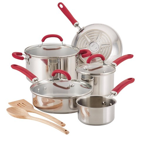 Rachael Ray 10pc Create Delicious Stainless Steel Cookware Set Red Handles - image 1 of 4