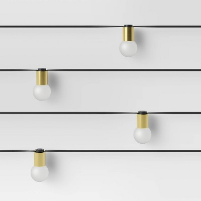 10ct Incandescent Outdoor String Lights G40 Frosted Bulbs Matte Brass Collar - Project 62™