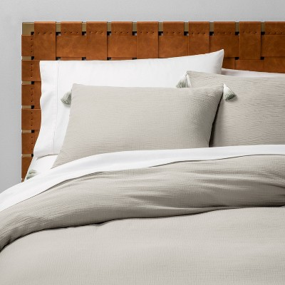 Full/Queen Solid Cotton Gauze Duvet Set Gray - Opalhouse™