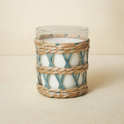 16oz Glass 2-Wick with Woven Wrap Blue Candle - Opalhouse™ designed with Jungalow™
