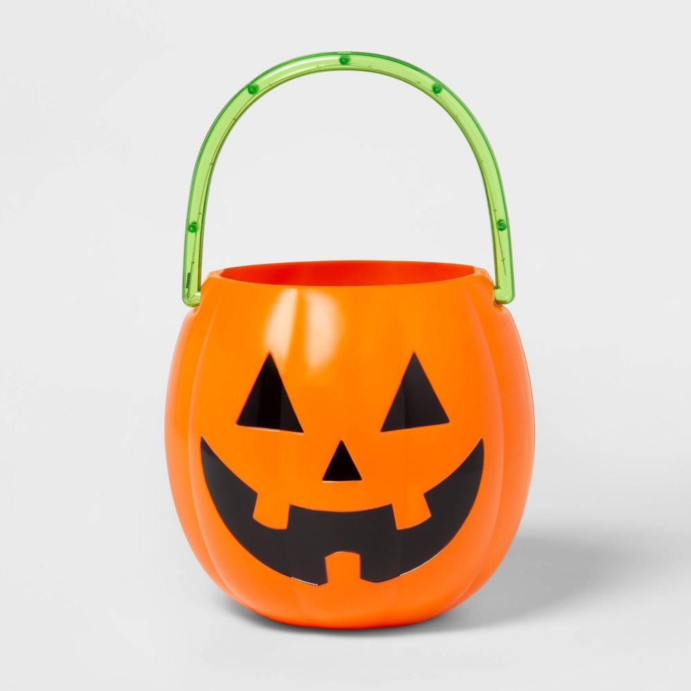 Image of Halloween Light-Up LED Pumpkin Trick-or-Treat Halloween Pail - Hyde & EEK! Boutique , Orange