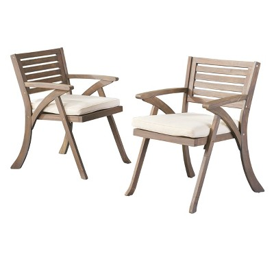 Hermosa 2pk Acacia Wood Arm Chair - Gray/Cream - Christopher Knight Home