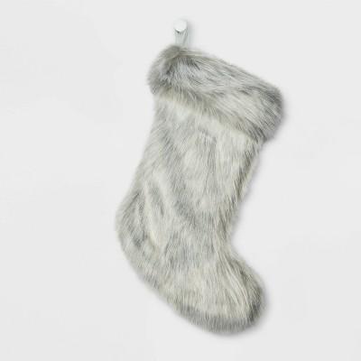 Faux Fur Christmas Stocking Gray - Wondershop™