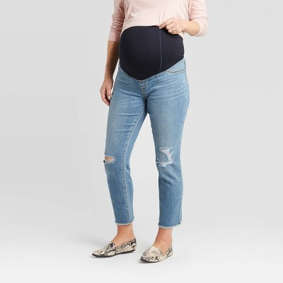 Maternity High-Rise Crossover Panel Distressed Straight Jeans - Isabel Maternity by Ingrid & Isabel™ Blue
