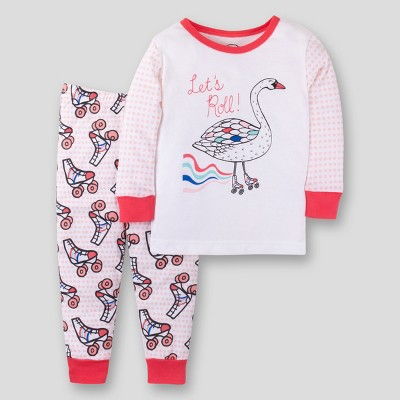 Lamaze Toddler Girls' Organic Let's Roll 2pc Tight Fit Pajama Set - Pink 18M