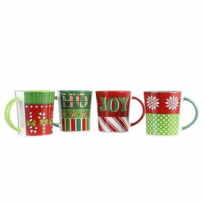 Gibson Home 15oz 4pk Stoneware Holiday Wrap Assorted Mugs