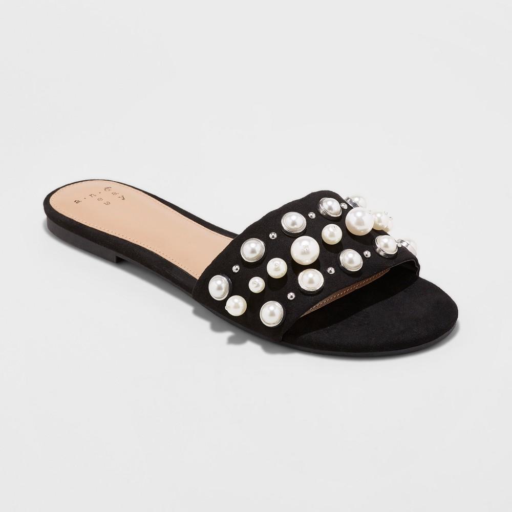 Women's Santana Slide Sandal - A New Day Black 5.5