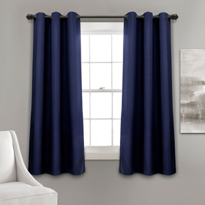 "63""x38"" Absolute Blackout Window Curtain Panels Navy - Lush Décor"