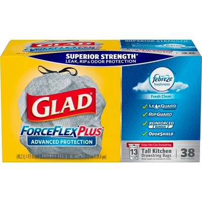 Glad ForceFlexPlus Febreze Fresh Scented Advanced Protection Tall Kitchen Drawstring Trash Bags - 38ct