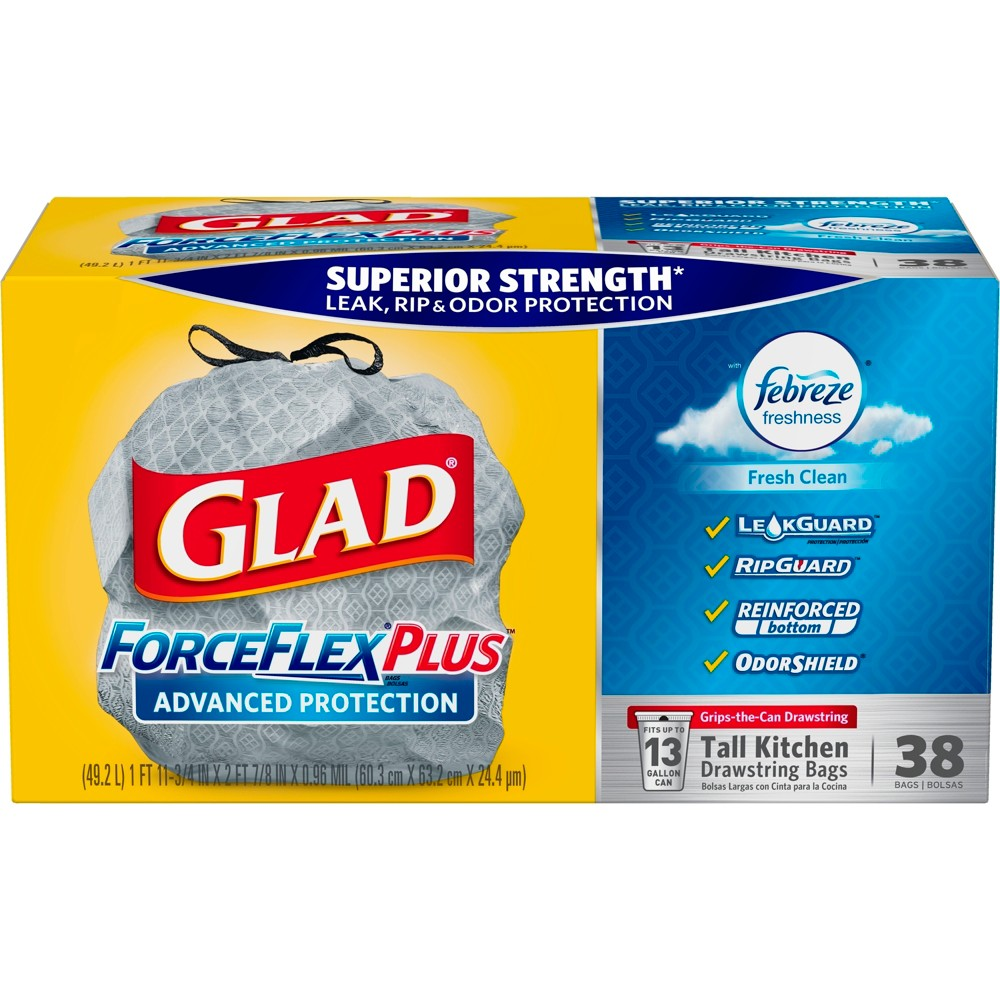 Glad ForceFlexPlus Febreze Fresh Scented Advanced Protection Tall Kitchen Drawstring Trash Bags - 38ct, White