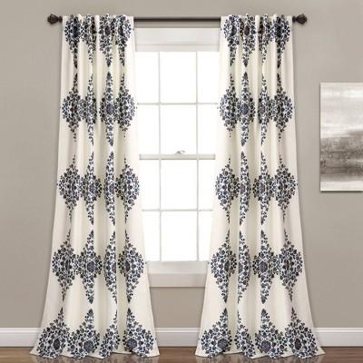 "Set of 2 84""x52"" Keya Medallion Light Filtering Window Curtain Cream - Lush Décor"