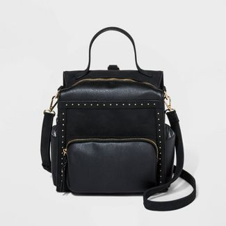 VR NYC Studded And Handle Mini Backpack - Black