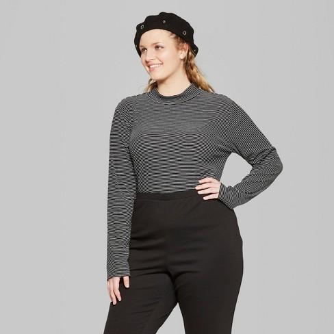 541fc3428a8 Women s Plus Size Striped Long Sleeve Rib Mock Neck - Wild Fable™  Black White 4X   Target