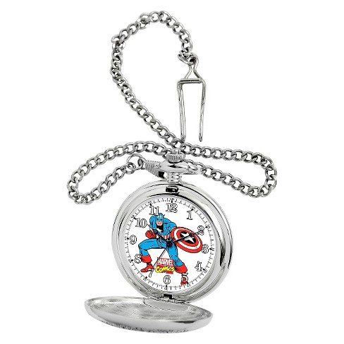 Men's Marvel Captain America Silver Pocket Watch - Silver - image 1 of 4