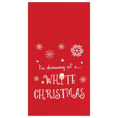 C&F Home White Christmas Waffle Weave Kitchen Towel
