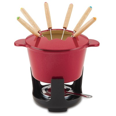 Rachael Ray 1.5qt Cast Iron Fondue Pot Set Red