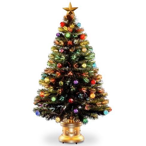 4ft led fiber optic fireworks tree slim with ball ornaments - Led Fiber Optic Christmas Tree