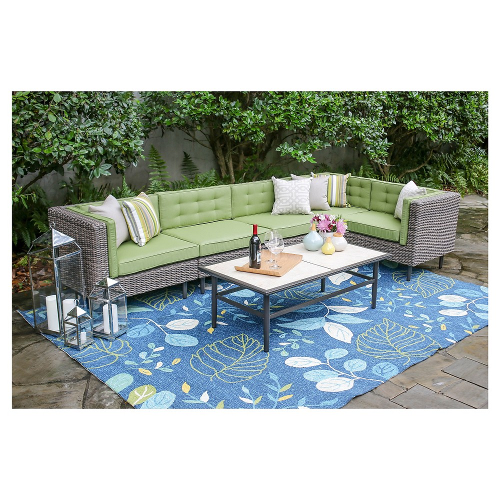 Image of Aimee 6-Piece Sectional with Sunbrella Fabric Spectrum - Cilantro